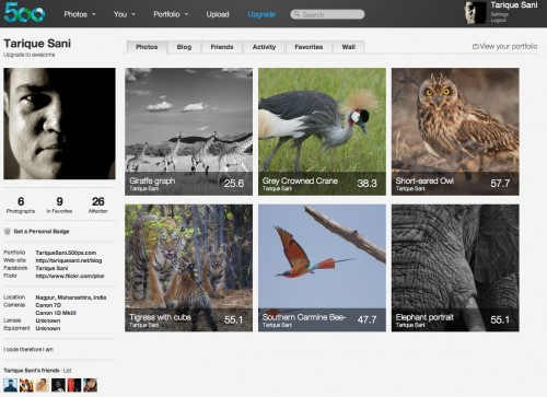 500px - your main photostream page